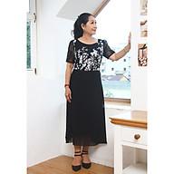 Đầm xòe A voan hoa cổ tròn tay ren TIFALU900 - Váy đầm trung niên cao cấp dự tiệc, dạo phố thumbnail