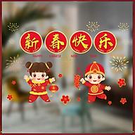 Decal trang trí nhà cửa, tết- 2 bé chúc tết- NAMJ946 thumbnail