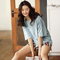 Bộ short nữ mặc nhà cotton áo xanh quần kẻ đỏ thumbnail