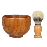 Beard Shaving Cream Bowl Shaving Soap Mug for Men with Shave Lather Brush Wooden Shaving Bowl thumbnail