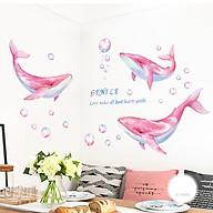 Decal dán tường chất liệu PVC loại 1 dày dặn, sắc nét,không độc hại, chuyên trang trí phòng khách, phòng ngủ, trang trí quán cafe,trang trí tết- cá heo hồng- mã sản phẩm QR9401 thumbnail