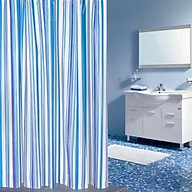 Rèm phòng tắm chống nước 1.8m 1.8m có sẵn móc SỌC KẺ NHỎ XANH DƯƠNG thumbnail
