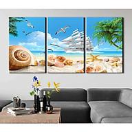 Tranh canvas phong thủy treo tường - Thuận buồm xuôi gió - TBXG003 - Bộ ghép 3 bức tràn viền - 120x60cm thumbnail