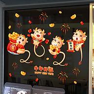 Decal trang trí nhà cửa, tết- Chuột ôm túi tiền vàng -NQR209167 thumbnail