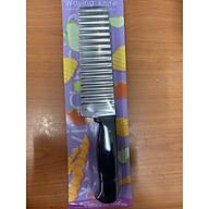 Dao cắt, thái rau củ, hoa quả hình sóng inox chuôi đen dầy dặn dễ cầm 25x5cm - ANTH326 thumbnail