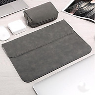 Bao da, túi da, cặp da chống sốc cho macbook, laptop chất da lộn kèm ví đựng phụ kiện - Xám - Macbook Air 13.3 inch đời 2019 - 2020 thumbnail