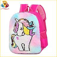 Balo Nhung Đính Kim Sa Hình Ngựa Lân Mèo Hello Kitty Màu Cầu Vồng Cho Bé Gái học mẫu giáo E287 thumbnail