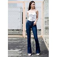 Quần jean nữ ống loe xanh đen trơn form siêu đẹp thumbnail