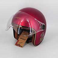 Mũ bảo hiểm 3 4 kính càng SRT thông gió viền đồng - Đỏ Đô Nhám thumbnail