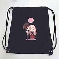 Balo dây rút đen in hình VẾT CẮN NGỌT NGÀO manhua anime túi rút đi học xinh xắn thời trang thumbnail