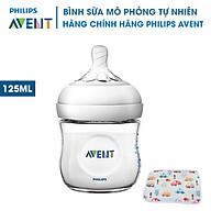 Bình sữa Avent bằng nhựa không có BPA 125ml. Bình Sữa Mô Phỏng Tự Nhiên Philips Avent. Tặng kèm tấm lót chống thấm cho bé. thumbnail