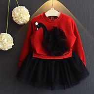Áo Váy Thu Đông Dài Tay Thêu Họa Tiết Cho Bé Gái E161 thumbnail