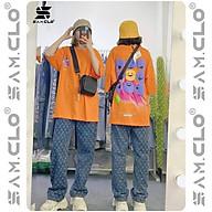 Áo thun tay lỡ nữ SAM CLO freesize phông form rộng dáng Unisex, mặc lớp, nhóm, couple in hình 9 MẶT CƯỜI màu cam thumbnail