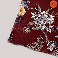 Vải Voan Chiffon hoa đều màu đỏ đô mềm mại, vải may đa dạng thumbnail