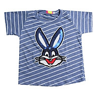 Áo Thun Bé Gái Nền Xanh Sọc Trắng Đính Thỏ Lấp Lánh Cuckeo Kids T81833 thumbnail