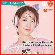 Tai Nghe Mèo Bluetooth Cao Cấp, Tai Nghe Không Dây Chơi Game Pin Trâu, Headphone Mèo Có mic, Chống Ồn, Đèn Led thumbnail