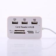 Bộ Chia USB 3 Cổng 2.0 + Đầu Đọc Thẻ Nhớ Đa Năng - HUB USB 2.0 + Card Reader thumbnail