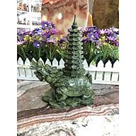 Tượng Long Quy ( Rùa đầu Rồng ) cõng tháp văn xương 9 tầng phong thủy cầu công danh tài lộc đá ngọc Ấn Độ - Dài 19 cm thumbnail