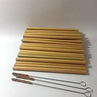 Ống hút tre tự nhiên loại đẹp - set 50 ống tặng kèm 3 cọ xơ dừa cán thép vệ sinh ống thumbnail