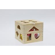 Hộp thả hình khối cơ bản vuông bằng gỗ thumbnail