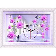 Tranh đính đá đồng hồ hoa hồng ( màu tím) LV10 Kích thước 80cm x 50cm thumbnail