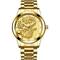 Đồng hồ nam mặt rồng vàng 3D dây kim loại bền đẹp sang trọng thumbnail