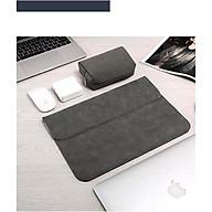 Bao da, túi da, cặp da chống sốc cho macbook, laptop chất da lộn kèm ví đựng phụ kiện - Xám - Macbook Air 13.3 inch đời 2018 đến 2020 thumbnail