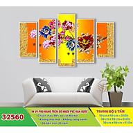 Tranh treo tường - Tranh trang trí - Hoa 3D 5 tấm - Gỗ MDF cao cấp - Chống ẩm mốc H01 thumbnail