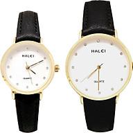Cặp Đồng Hồ Nam Nữ Halei HL542 Dây da đen mặt trắng (Tặng pin Nhật sẵn trong đồng hồ + Móc Khóa gỗ Đồng hồ 888 y hình + Hộp chính hãng) thumbnail