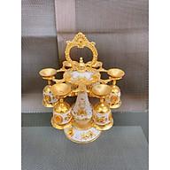 Bộ ly cốc để bàn thờ có giá treo 1 tầng mạ vàng chất liệ kim loại - -ANTH262 thumbnail
