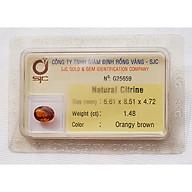 Mặt đá thạch anh vàng citrine kiểm định tự nhiên mài giác oval thumbnail