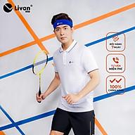 Áo Cầu Lông Nam Livan Sport Năng Động Co Giãn Thoáng Khí Cao Cấp Trắng Trơn thumbnail
