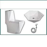 Combo thiết bị vệ sinh GRGM08 3 món gồm bồn cầu kim cương, lavabo lục giác, vòi xịt đẳng cấp thumbnail