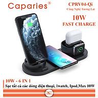 Sạc Nhanh Không Dây 6 in 1 , 10W CAPARIES CPRV04-Qi , Wireless Quick Charge, chuẩn Qi Apple cho Iphone, Samsung, Vivo, Oppo, Xioami, Huawei, Vsmart - Chính Hãng thumbnail