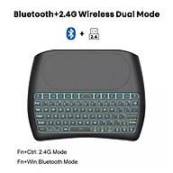 Bàn phím không dây 2.4G + Bluetooth D8 mini có đèn Led tích hợp bàn di chuột thumbnail