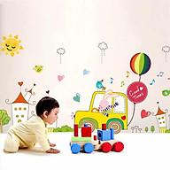 Decal dán tường thỏ lái xe ôtô dạo phố vui nhộn cho bé XH9239 thumbnail