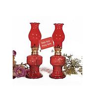 Đôi đèn thờ đốt dầu thuỷ tinh bóng đỏ BH12175 thumbnail