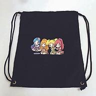 Balo dây rút đen in hình AIKATSU Học Viện Thần Tượng anime chibi túi rút đi học xinh xắn thời trang thumbnail