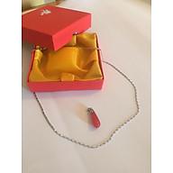 Set Mặt dây chuyền Hồng Ngọc Malaysia cao 2cm Hình Giọt nước rơi - Dây chuyền hợp kim mạ Titanium không rỉ không bay màu dài 45 cm và hộp đựng cung hỷ, Thiết kế đơn giản. thumbnail