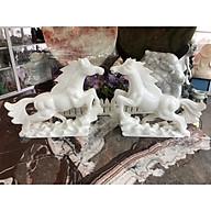 Cặp Ngựa phong thủy rước công danh tài lộc đá cẩm thạch trắng - Dài 35 cm thumbnail