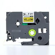 Nhãn in TZ2-651 chữ đen trên nền vàng (Black on yellow)_24mm dùng cho máy in nhãn thumbnail