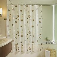 Rèm Phòng tắm PEVA không thấm nước 1.8m viền tròn vàng nâu thumbnail