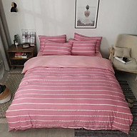 Bộ vỏ chăn ga gối cotton đũi muji cao cấp - Kẻ ngang hồng thumbnail