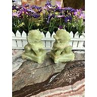 Cặp Kỳ Lân phong thủy đá ngọc Onyx - Cao 12 cm thumbnail