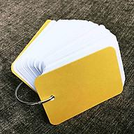 Combo 500 thẻ flashcard trắng siêu dày phong cách mới 5x8cm bo góc giữa tặng khoen + bìa cứng 3D thumbnail