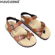 Sandal Unisex HuuCuong Xỏ Ngón Pu Nâu Đế Trấu thumbnail