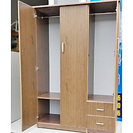 Tủ nhựa đài loan 3 cánh 2 ngăn kéo màu vân gỗ đỏ thumbnail