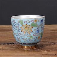 Chén Bạc uống trà Hoa Sen ngũ sắc màu xanh thumbnail