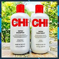 Cặp dầu gội xả CHI Infra shampoo & treatment siêu mượt cho tóc khô hư tổn (xám) USA 355ml thumbnail