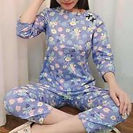 Đồ bộ nữ, đồ bộ mặc nhà, quần áo nữ mặc nhà, đồ bộ mặc nhà tay lỡ họa tiết hoa lá thumbnail
